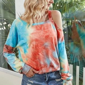 LARGE New Off-The-Shoulder Tie Dye Oversized Top